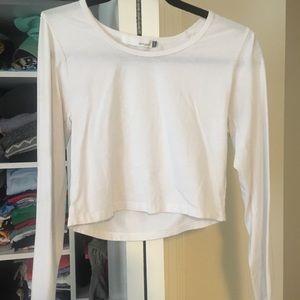 White long sleeve crop top